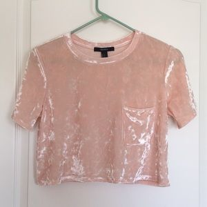 Crop top with pocket. Coral pink velvet fabric